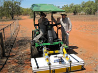 Ground penetrating survey with 3D radar mounted to tractor for fast large area surveys